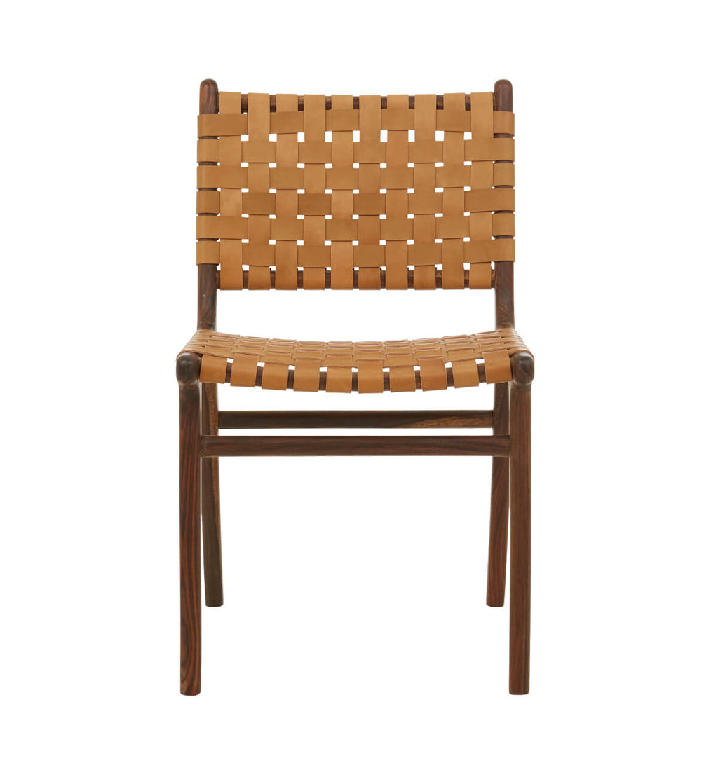 leather strapping dining chair rosewood u0026 tan