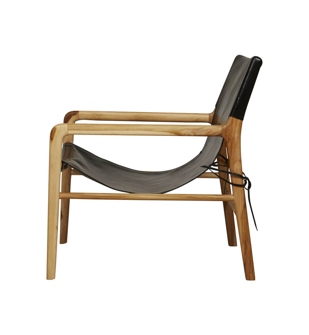 Fenton Fenton Leather Sling Chair In Teak Black