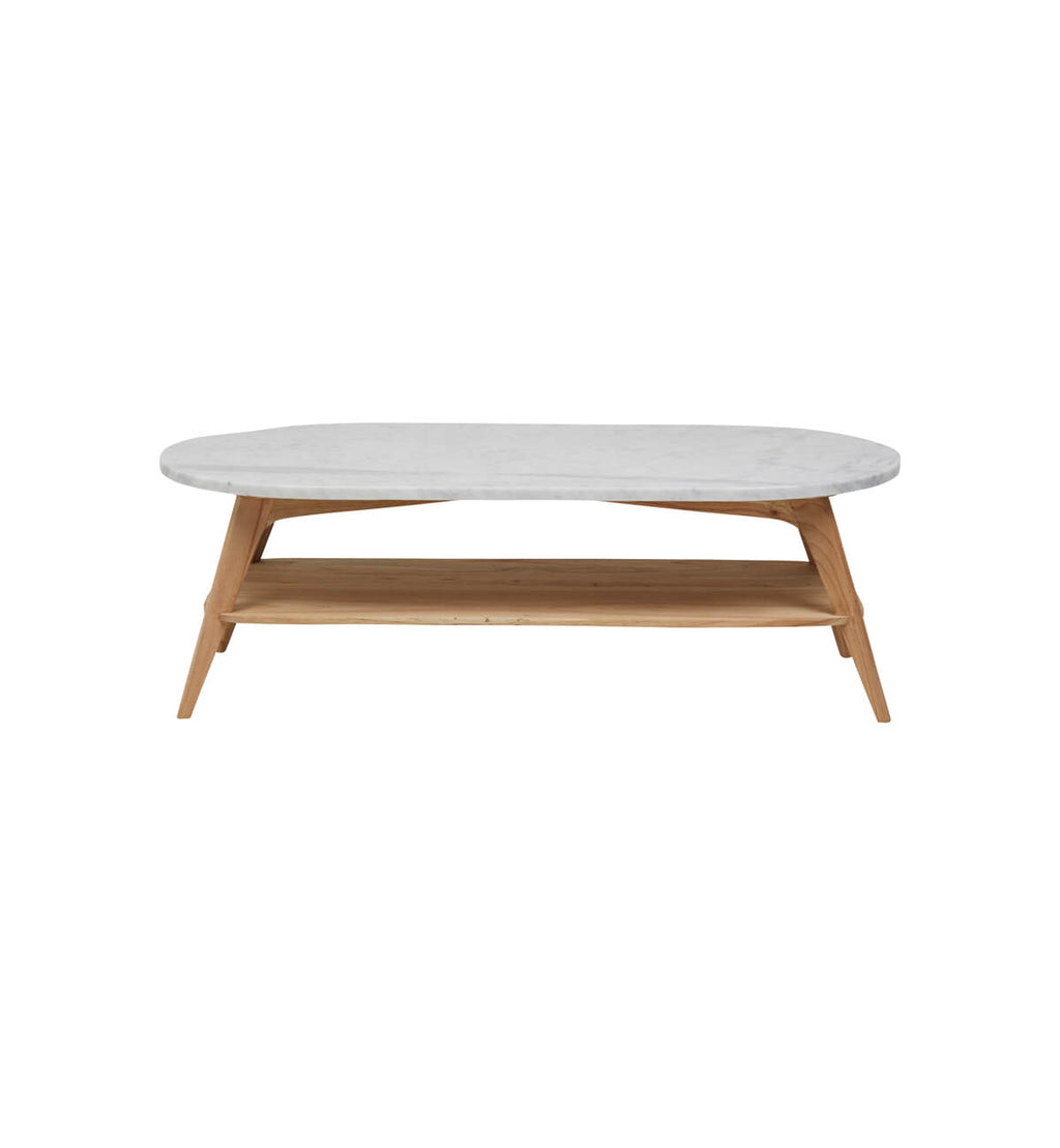 White Coffee Table Oval: Woodrow Oval Marble Coffee Table