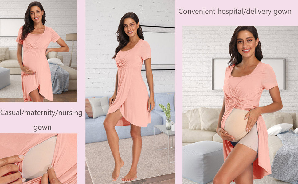 Soft Labor Delivery Nursing Nightgown Maternity Dress