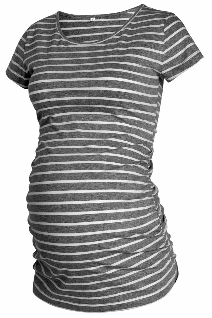 Basic T-Shirt 3-Pack Ruched Maternity Tops With Short Sleeves