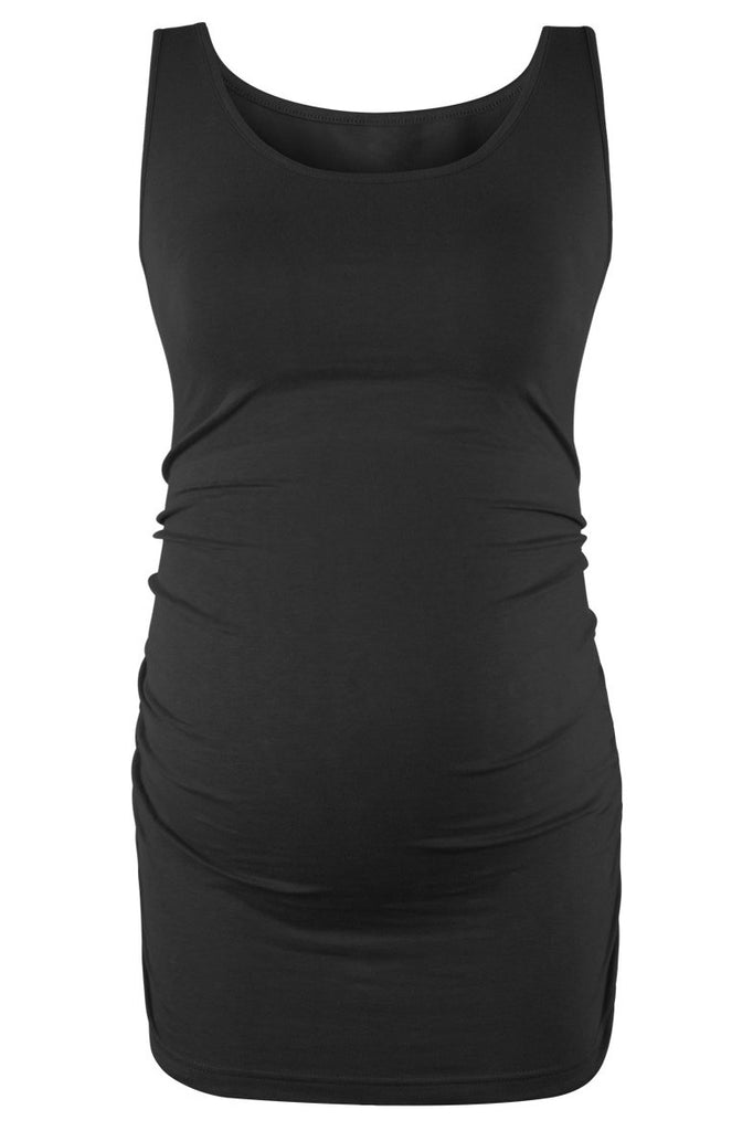 Basic Ruched Maternity Tank Top Black / S Tops