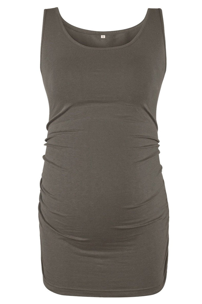 Basic Ruched Maternity Tank Top Tops