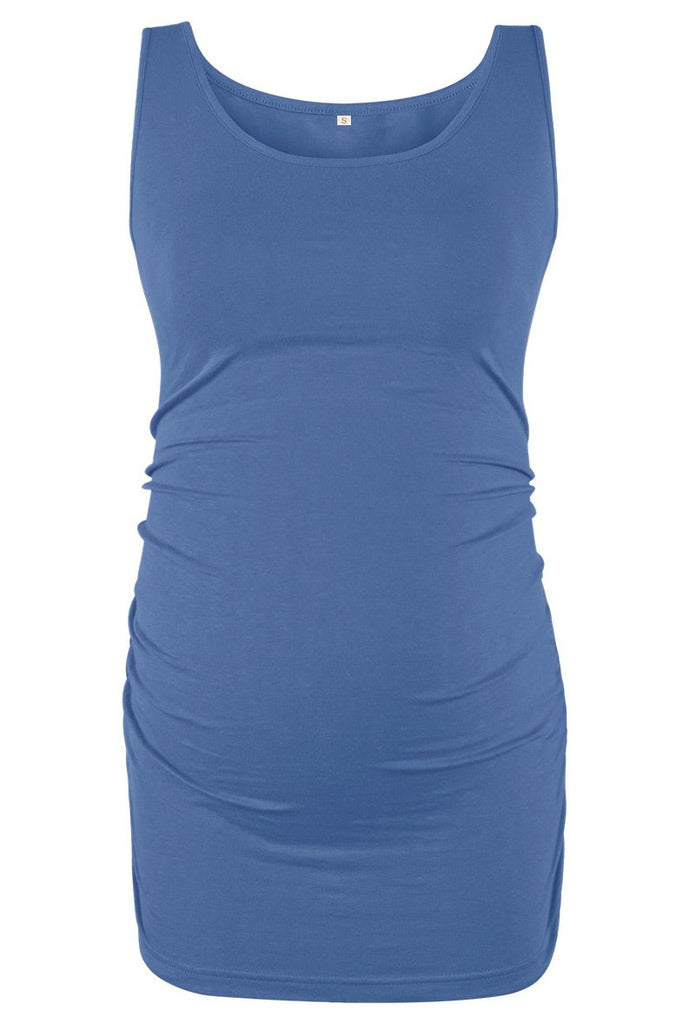 Basic Ruched Maternity Tank Top Blue / S Tops