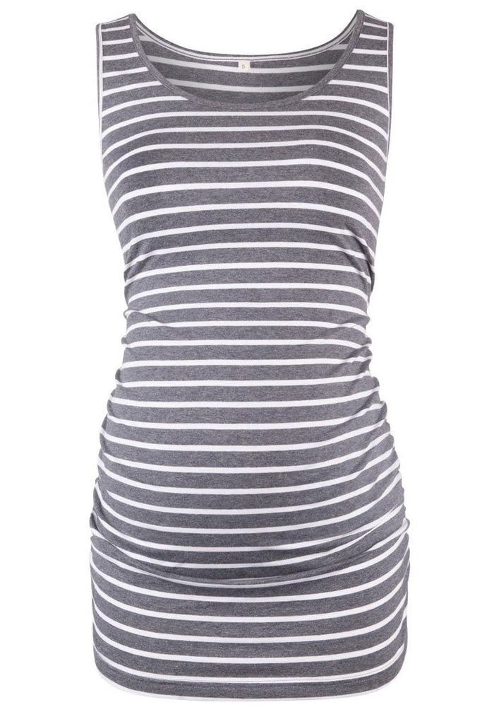 Basic Ruched Maternity Tank Top Gray / S Tops