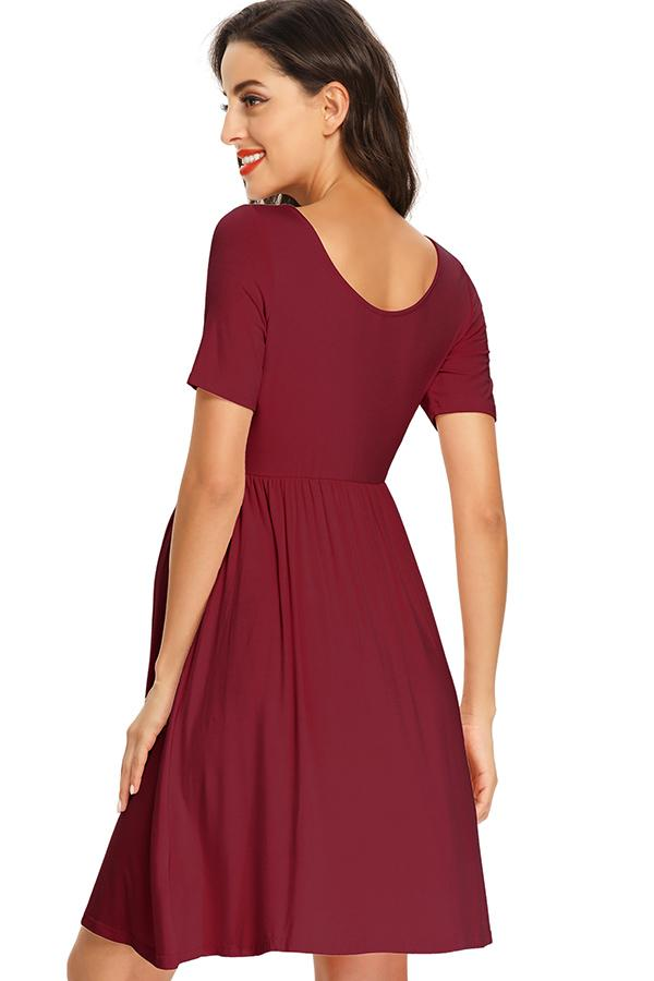 Casual Maternity Buttoned Short Dress With Sleeves Dresses
