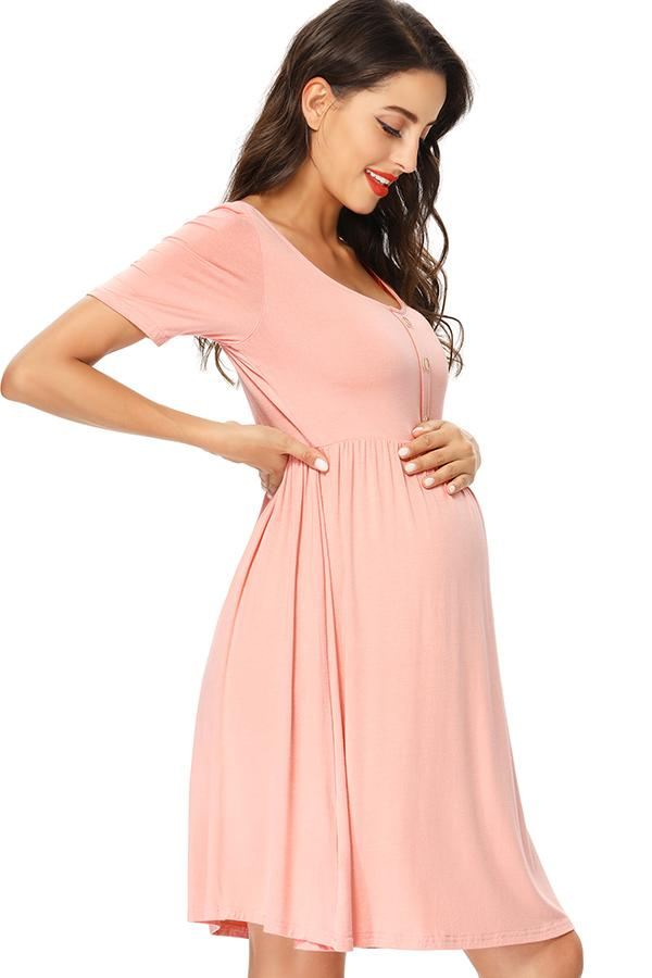 Casual Maternity Buttoned Short Dress With Sleeves Pink / S Dresses