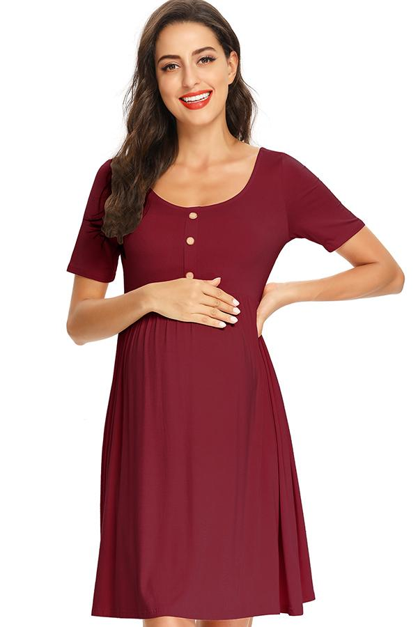 Casual Maternity Buttoned Short Dress With Sleeves Burgundy / S Dresses