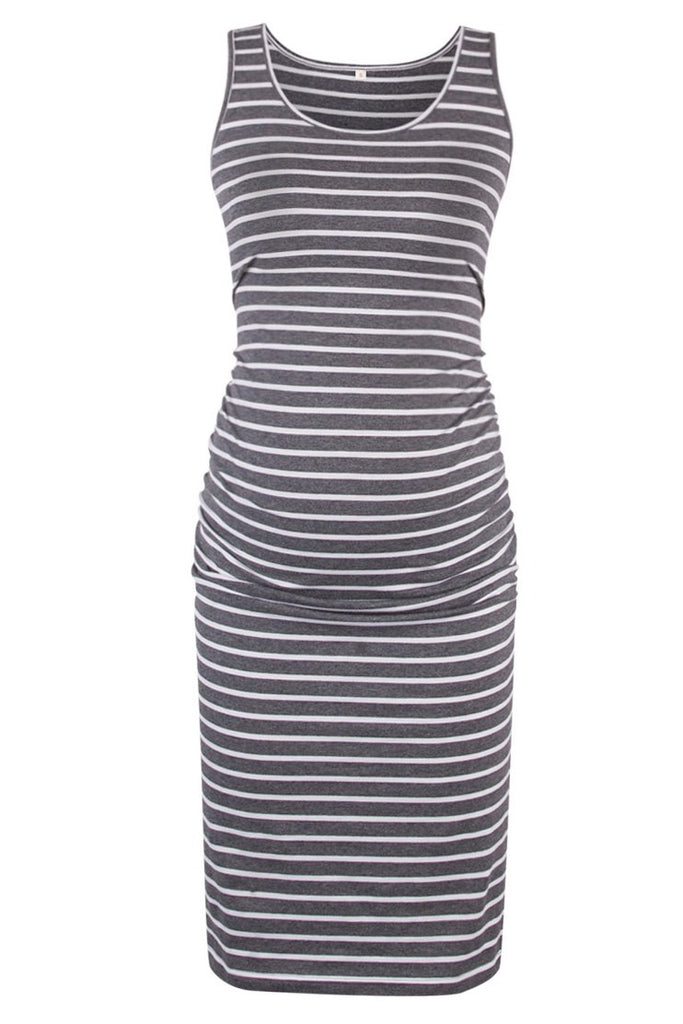Casual Maternity Fitted Ruched Side Tank Dress