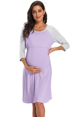 Colorblock Long-sleeve Maternity & Nursing Sleepshirts