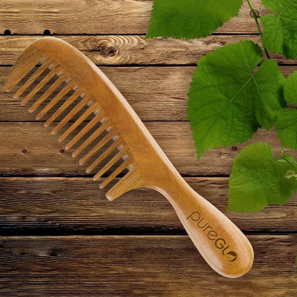 Natural Green Sandalwood Wide Tooth Handmade Hair Comb