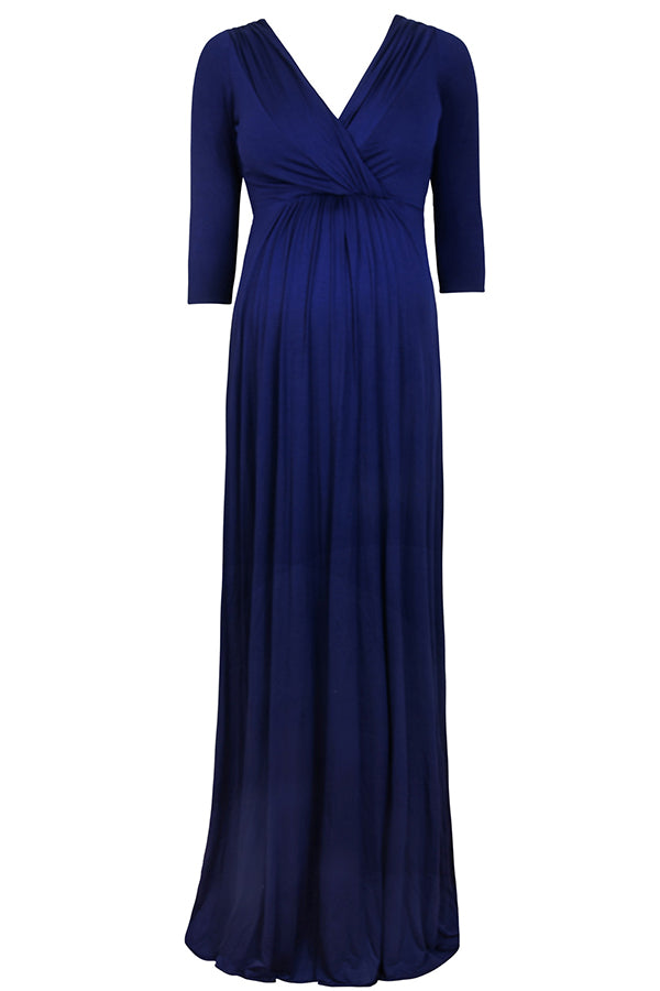 Dark Navy Plus Size Langes Umstandskleid