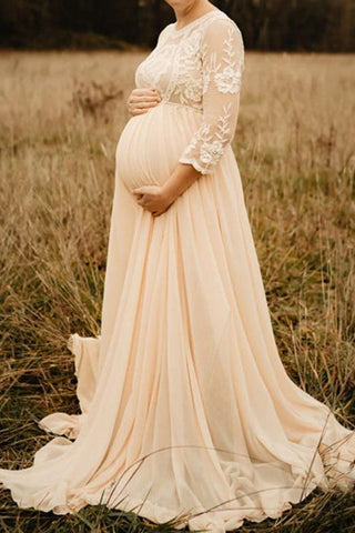 Elegant Pregnancy Chiffon Lace Long Maternity Gown Champagne / S Dresses