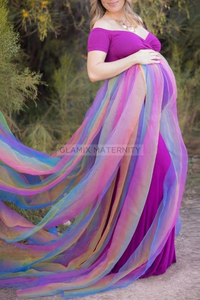 Fashion Off-the-shoulder A-line Gradient Maternity Photoshoot Gown