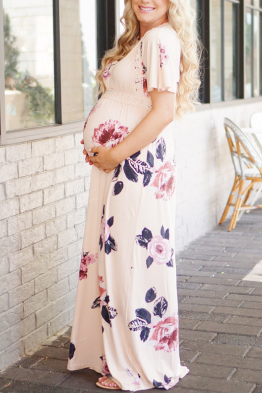 Floral Long Maternity Dress With Short Sleeves