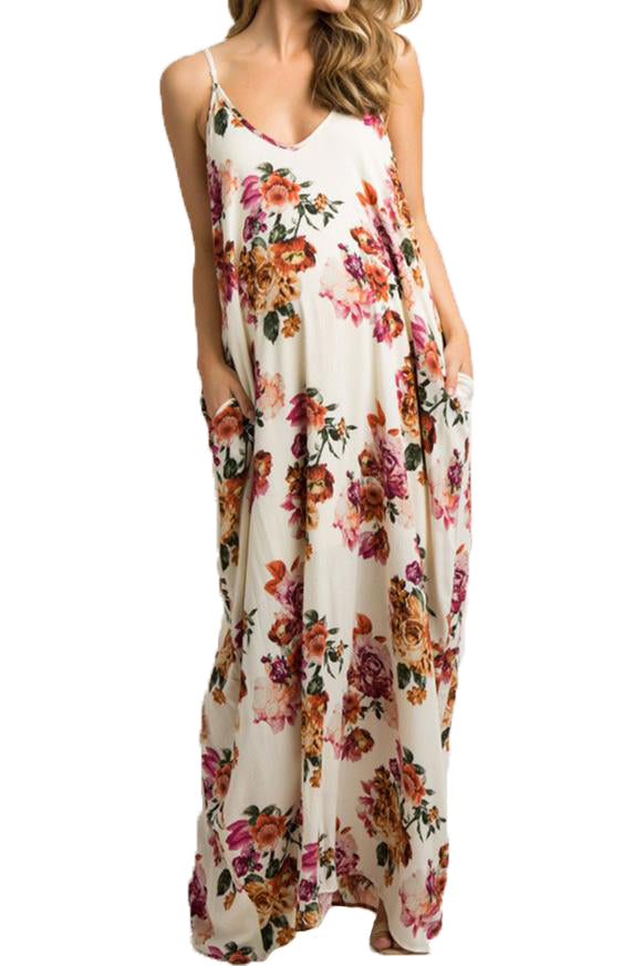 Floral Tank Maternity Maxi Dress With Pockets