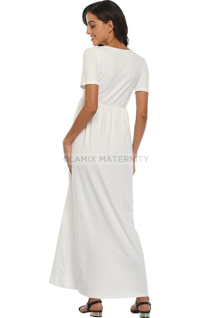 Frilled Waist V-neck Maternity Dress With 3/4 Sleeves