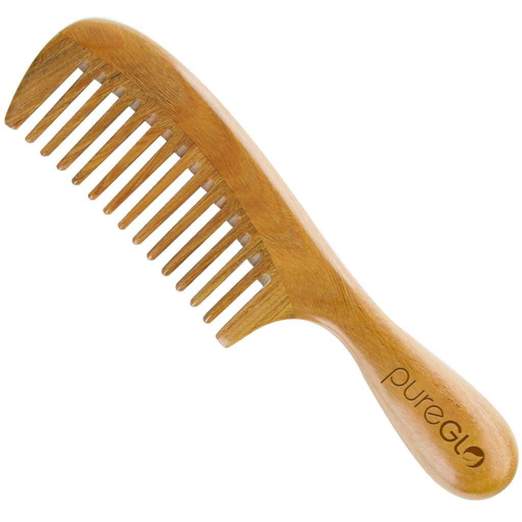 Green Sandalwood Wide Tooth Aroma Handmade Hair Comb