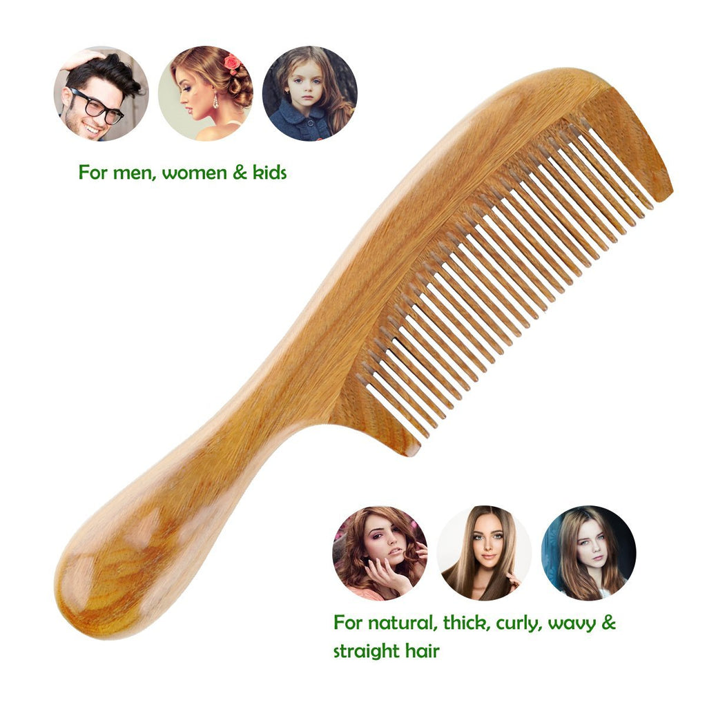 Natural No-Static Detangling Handmade Fine Tooth Wooden Comb