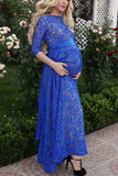 Royal Blue Lace Maternity Dress With Sleeves