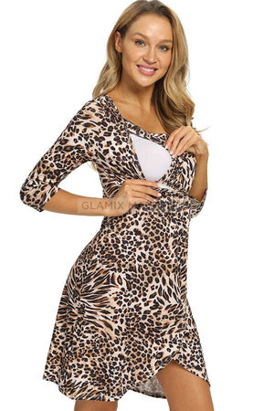 Leopard Labour Delivery Robe Nursing Nachthemd