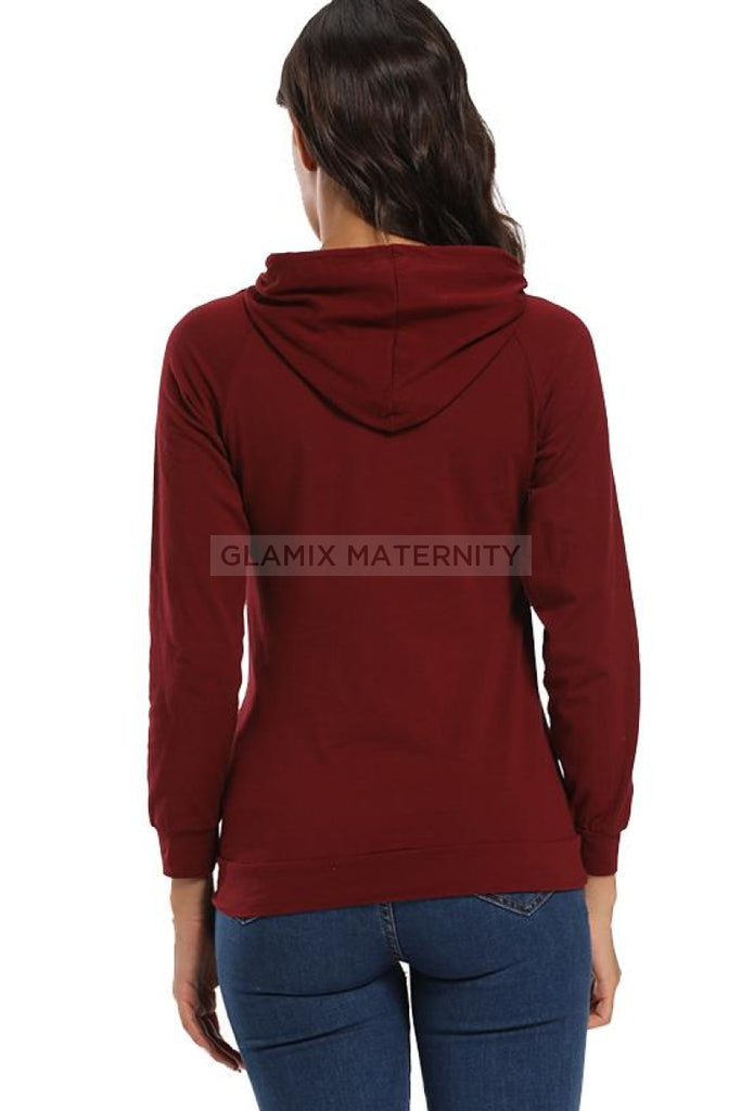 Maternity Nursing Hoodie Pregnancy Breastfeeding Sweatshirt