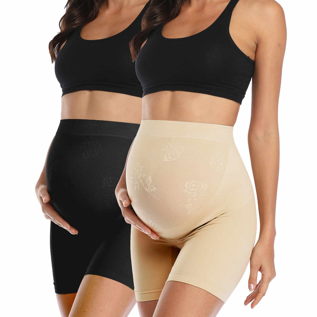 Maternity Shapewear Belly Support Panties 2 Pack (Nude+Black)