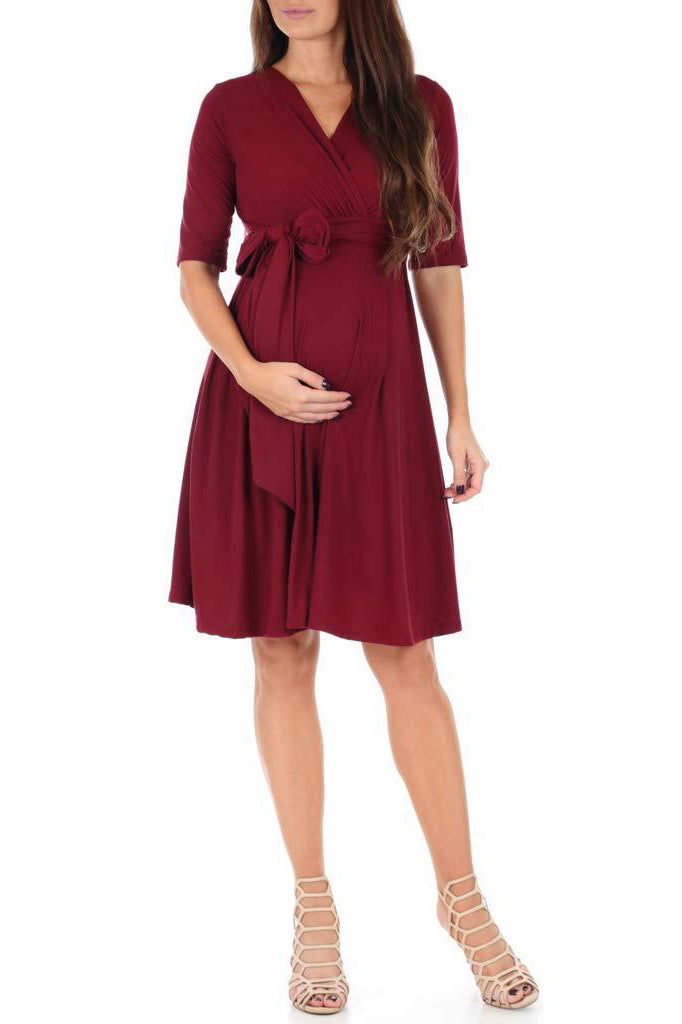 Maternity Solid Color Nursing Wrap Dress