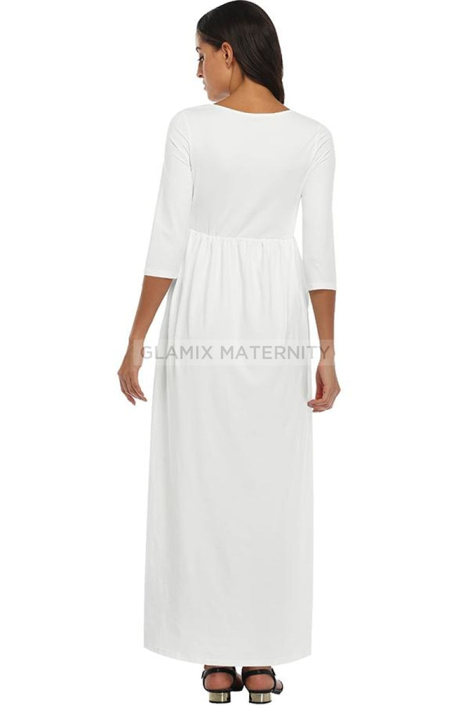 Maxi Wrap Nursing Long Maternity Dress