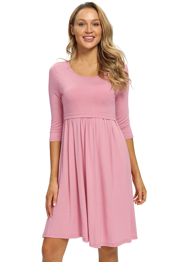 Nursing Short Dress With Long Sleeve Casual Breastfeeding Dress