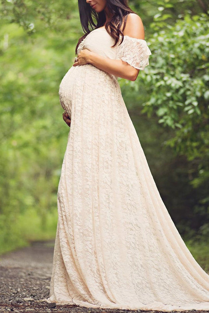 Off Shoulder Lace Maternity Photoshoot Dress Champagne / S Dresses