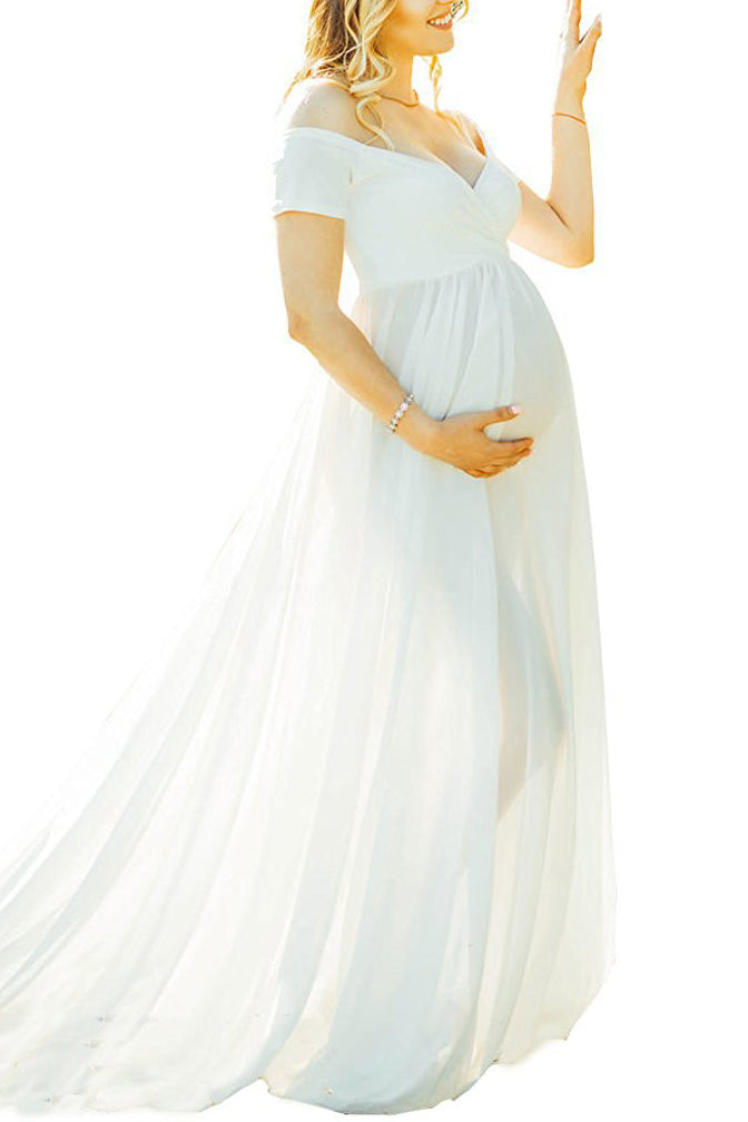 Off-the-shoulder Maxi Maternity Dress With Short Sleeves