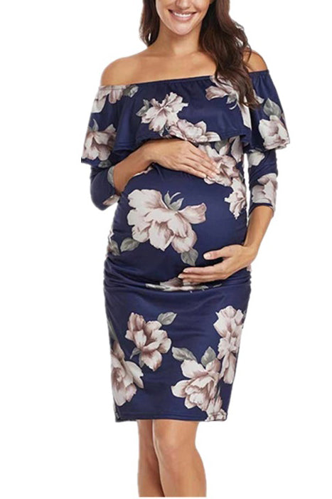 Off-the-shoulder Printed Maternity Ruffled Dress