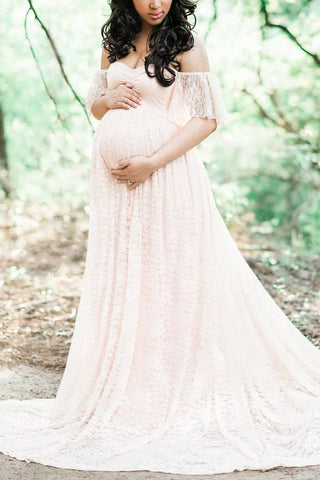 Off Shoulder Lace Maternity Long Dress
