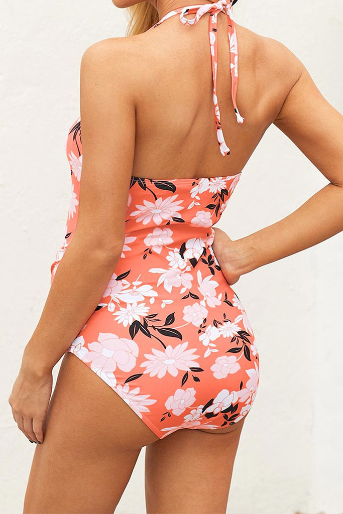 One Piece Halter Pregnancy Side Ruched Maternity Swimsuit
