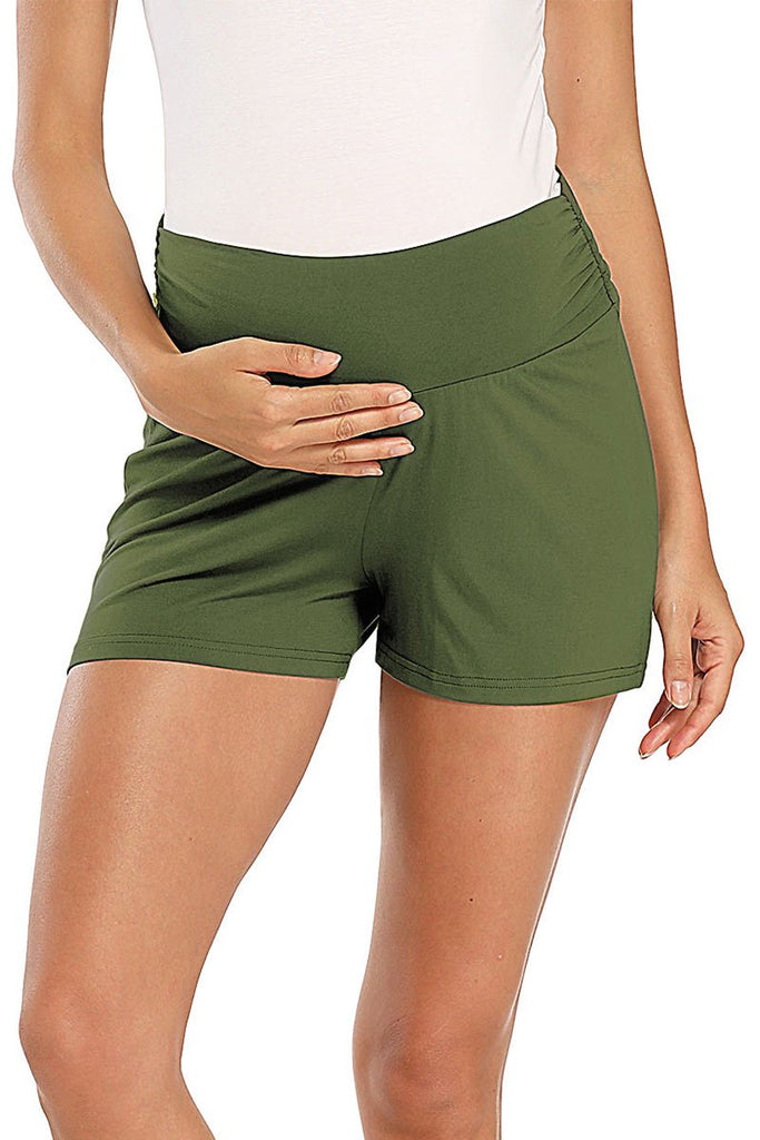 Over Bump Pregnancy Activewear Workout Maternity Shorts Dark Green / S Bottoms