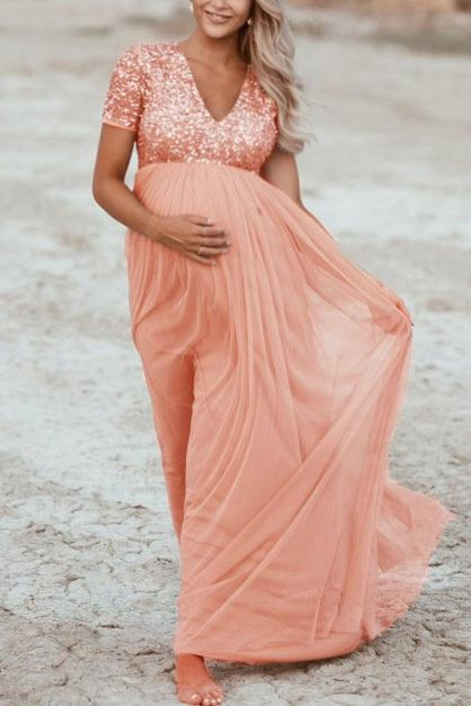 Pink Sequined Maternity Maxi Dress