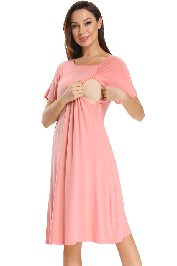 Pregnancy Snap Button Breastfeeding Sleep Nightgown
