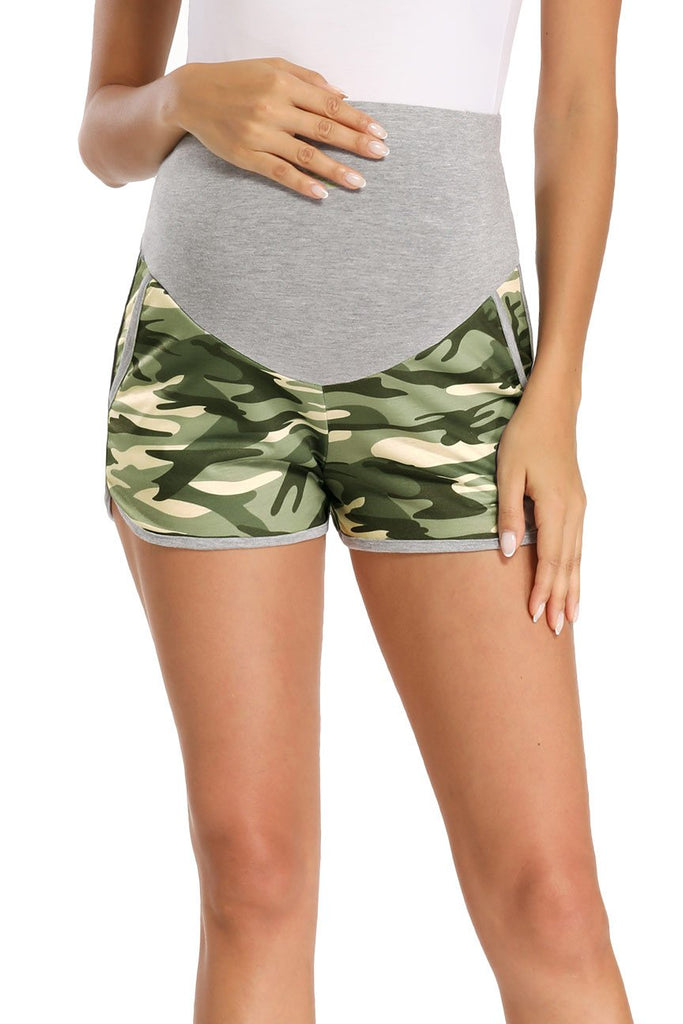Pregnancy Activewear Over Bump Workout Maternity Run Shorts Green / S Bottoms