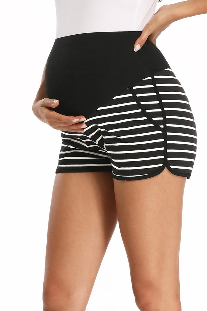 Pregnancy Activewear Over Bump Workout Maternity Run Shorts Black / S Bottoms