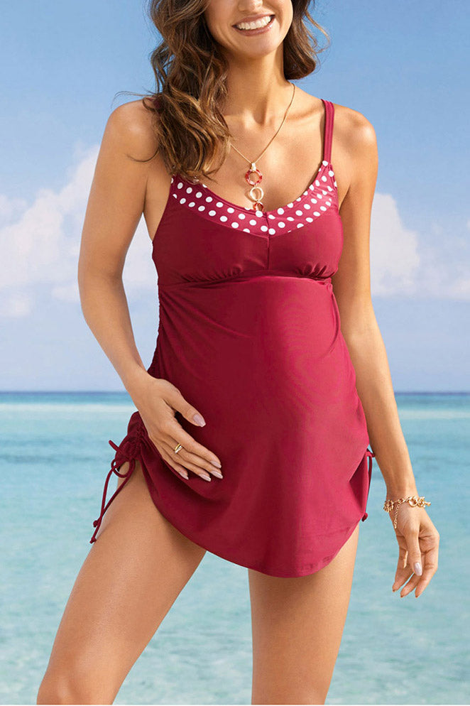 Pregnancy Drawstring Tankini Side Ruched Maternity Swimwear