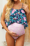 Pregnancy Floral Matenrity Tankini Swimsuit