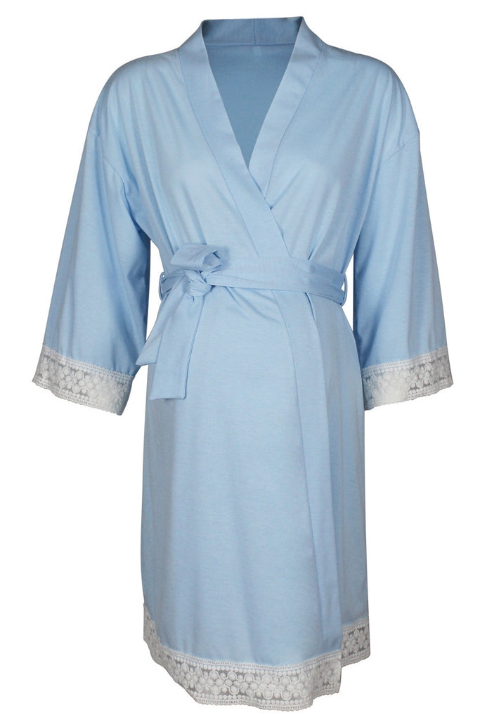 Pregnancy Delivery Robe Lace Trim Maternity Sleep Nightgown