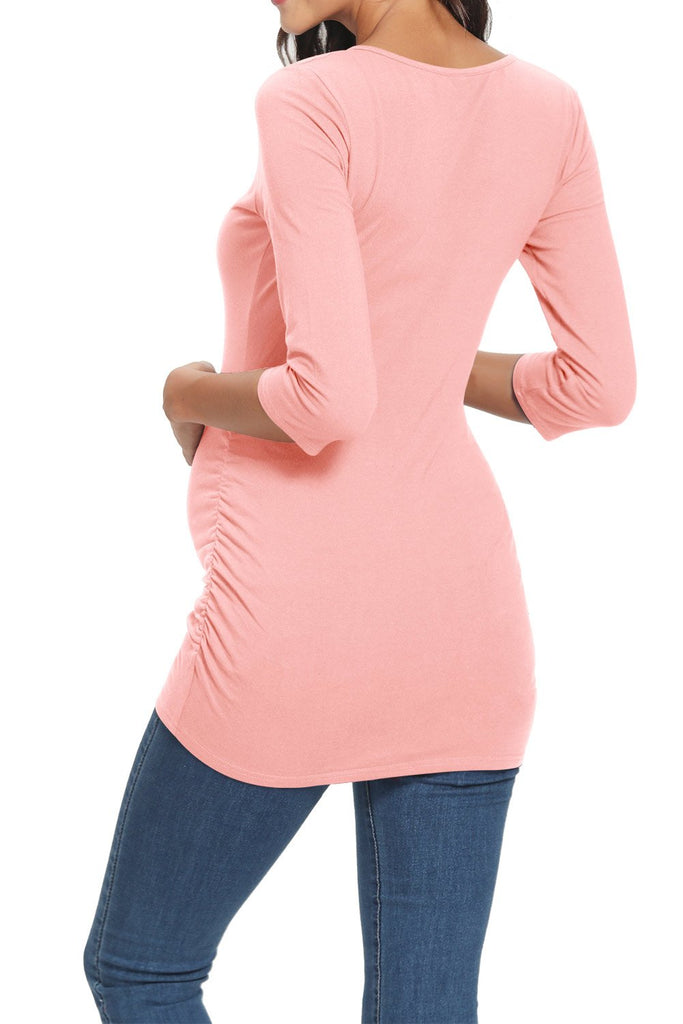 Pregnancy Side Ruched Basic Maternity T-Shirt With 3/4 Sleeves Tops
