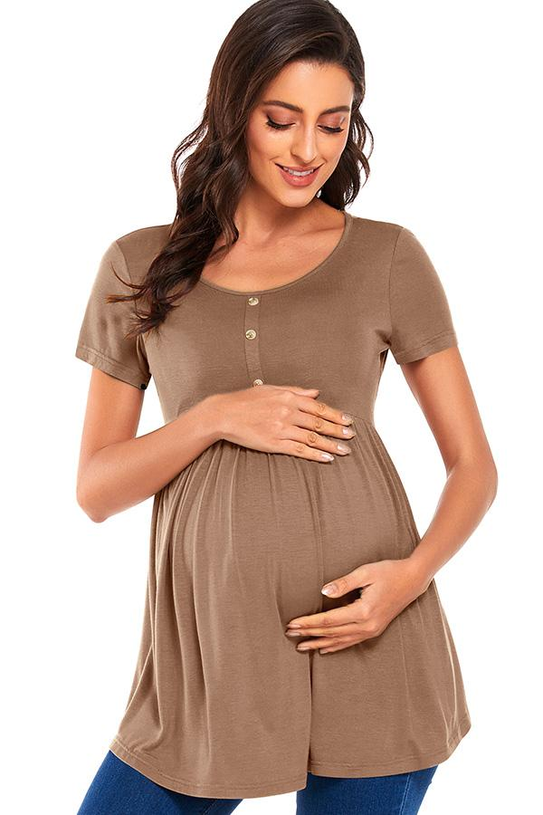 Round Neck Buttoned Ruched Maternity Top