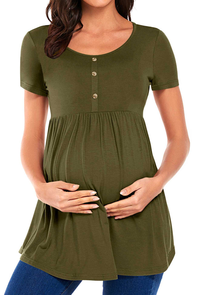 Round Neck Buttoned Ruched Maternity Top Tops