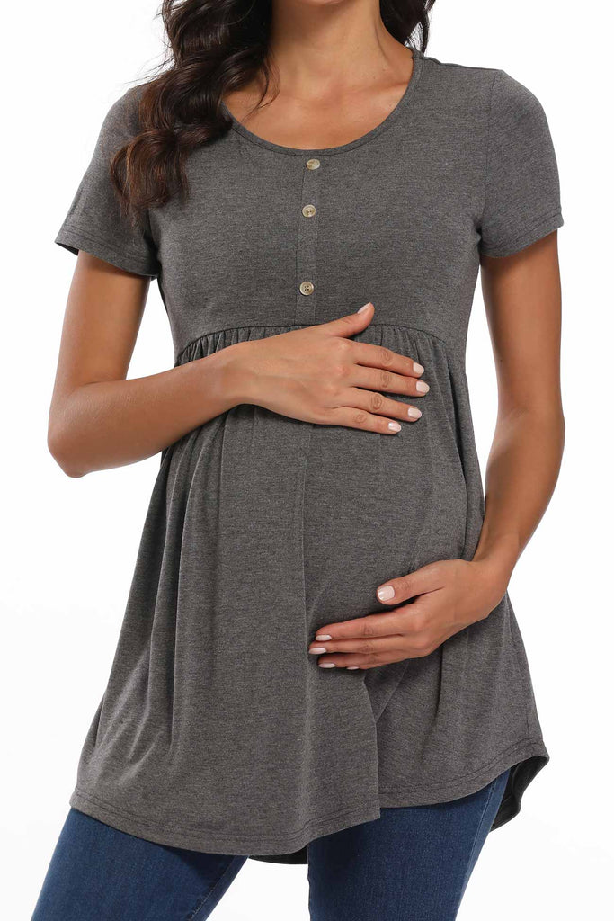 Round Neck Buttoned Ruched Maternity Top Gray / S Tops