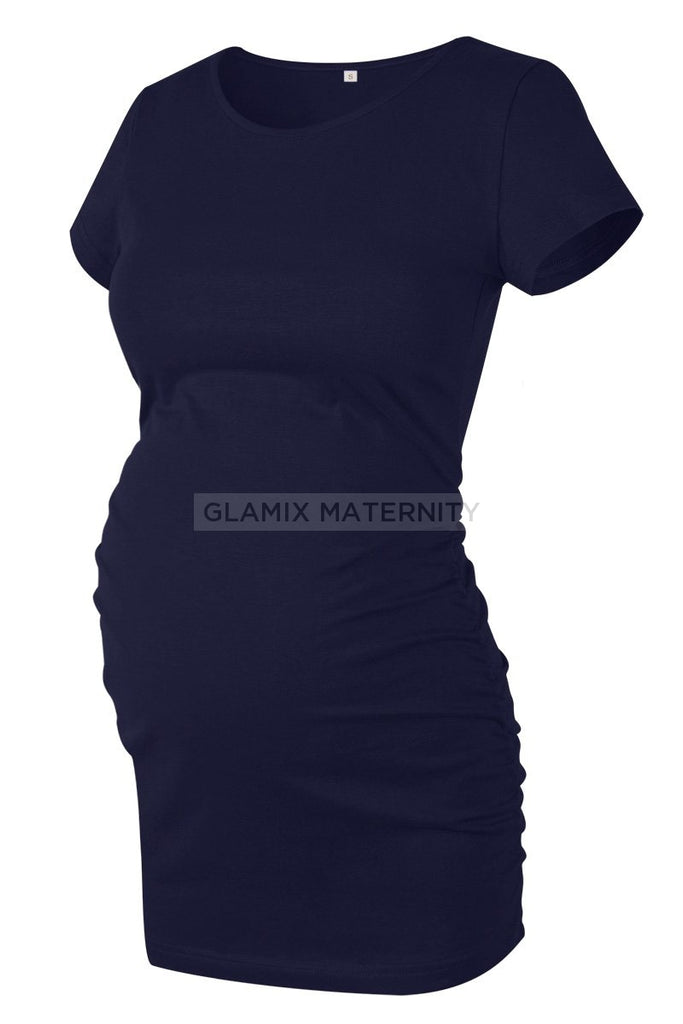 Ruched Maternity T-Shirt With Short Sleeves Dark Navy / S Tops