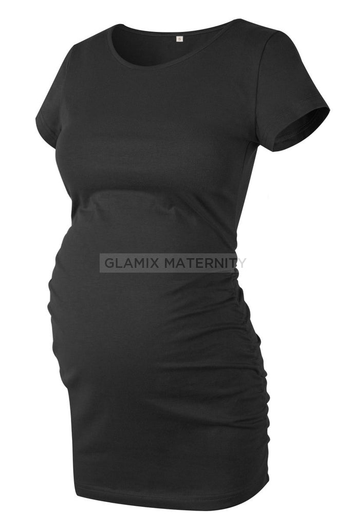 Ruched Maternity T-Shirt With Short Sleeves Black / S Tops