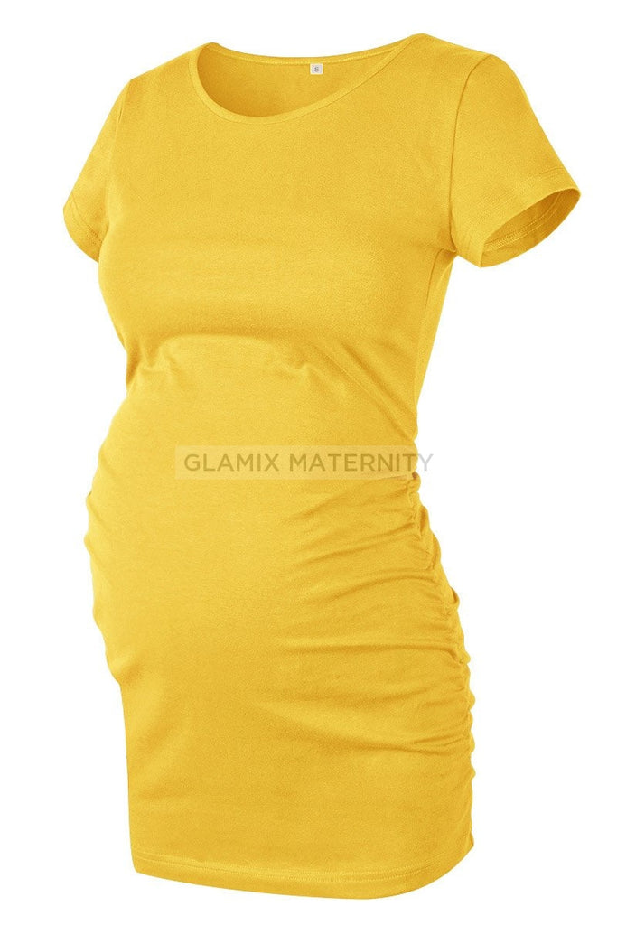 Ruched Maternity T-Shirt With Short Sleeves Yellow / S Tops